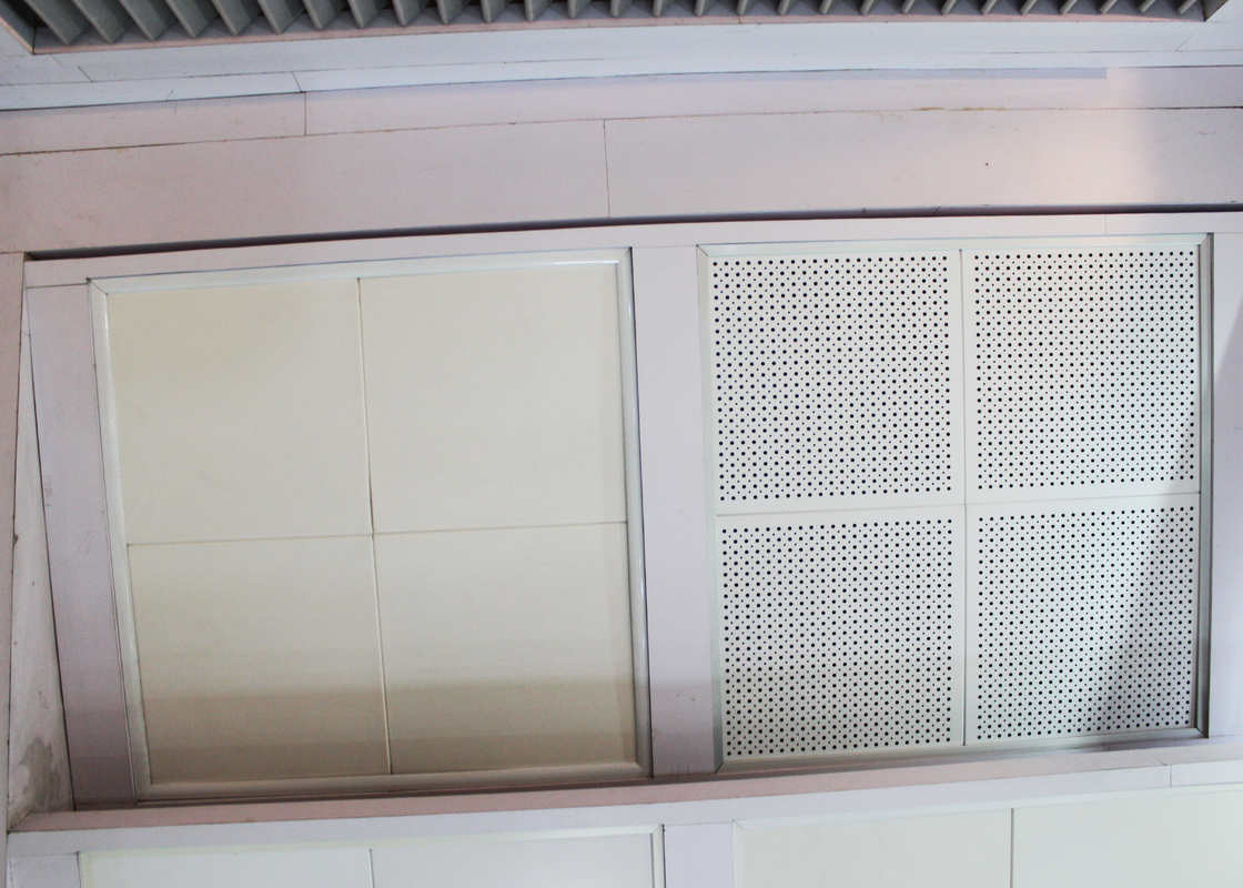 Painted and Reflective Finishes Clip In Ceiling Tiles with Sound Absorbing Inlays