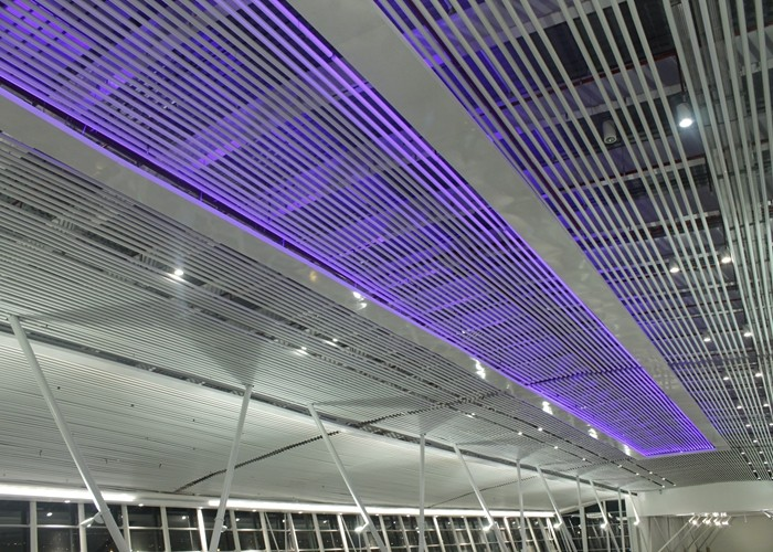 Rust Proofing Suspended Commercial Aluminium Baffle Ceiling For Airport  Or Railway Station